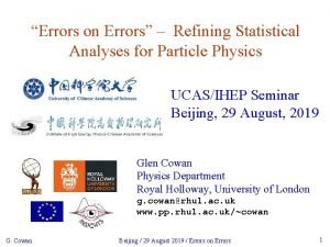 Errors on Errors Refining Statistical Analyses for Particle