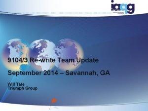 91043 Rewrite Team Update September 2014 Savannah GA