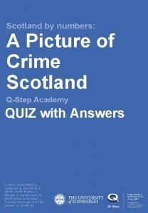 Scotland by numbers A Picture of Crime Scotland
