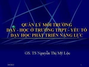 QUN L MI TRNG DY HC TRNG THPT