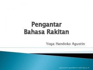Pengantar Bahasa Rakitan Yoga Handoko Agustin yoga handoko