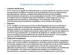 Tratado de Libre Comercio CanadChile Comercio de Servicios