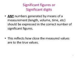 Significant figures or Significant digits ANY numbers generated