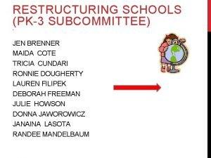 RESTRUCTURING SCHOOLS PK3 SUBCOMMITTEE R JEN BRENNER MAIDA