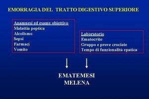 EMORRAGIA DEL TRATTO DIGESTIVO SUPERIORE Anamnesi ed esame