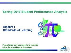 Spring 2013 Student Performance Analysis Algebra I Standards