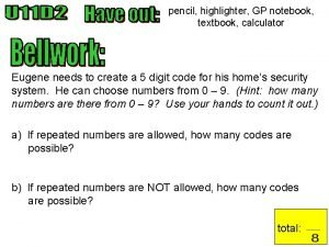 pencil highlighter GP notebook textbook calculator Eugene needs