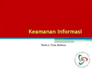 Keamanan Informasi Week 11 Virus Malware Definisi Virus