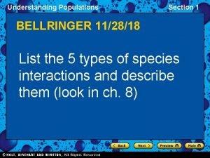 Understanding Populations Section 1 BELLRINGER 112818 List the
