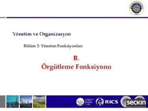 Ynetim ve Organizasyon Blm 3 Ynetim Fonksiyonlar B