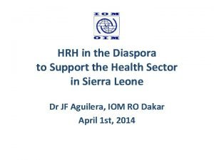 HRH in the Diaspora to Support the Health
