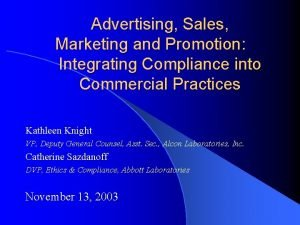 Advertising Sales Marketing and Promotion Integrating Compliance into