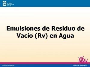 Emulsiones de Residuo de Vaco Rv en Agua