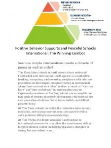 Positive Behavior Supports and Peaceful Schools International The