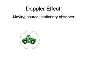 Doppler Effect Moving source stationary observer Doppler Effect