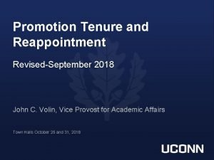 Promotion Tenure and Reappointment RevisedSeptember 2018 John C