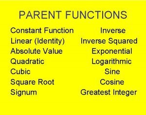 PARENT FUNCTIONS Constant Function Inverse Linear Identity Inverse