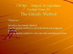 CSC 401 Analysis of Algorithms Lecture Notes 10