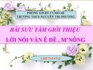 PHNG GDT CMGAR TRNG THCS NGUYN TRI PHNG