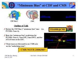 Minimum Bias at CDF and CMS CDF Run