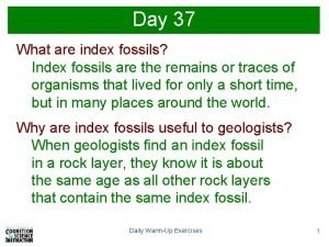 Day 37 What are index fossils Index fossils