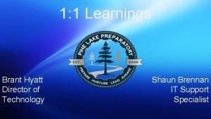1 1 Learnings Brant Hyatt Director of Technology