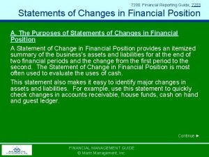 7200 Financial Reporting Guide 7233 Statements of Changes