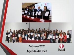Febrero 2020 Agenda del mes Actividades del mes