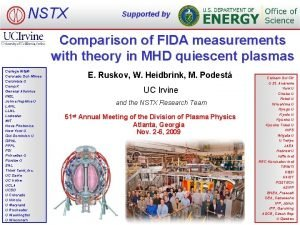 NSTX Supported by Comparison of FIDA measurements with
