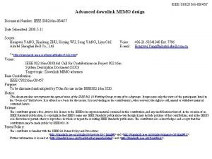 IEEE S 80216 m08457 Advanced downlink MIMO design