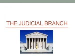 THE JUDICIAL BRANCH Judicial Branch 3 rd Article