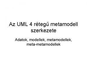 Az UML 4 rteg metamodell szerkezete Adatok modellek