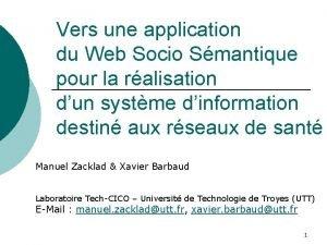Vers une application du Web Socio Smantique pour