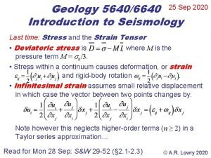 Geology 56406640 25 Sep 2020 Introduction to Seismology