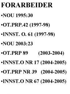 FORARBEIDER NOU 1995 30 OT PRP 42 1997