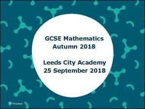 GCSE Mathematics Autumn 2018 Leeds City Academy 25