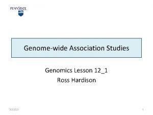 Genomewide Association Studies Genomics Lesson 121 Ross Hardison