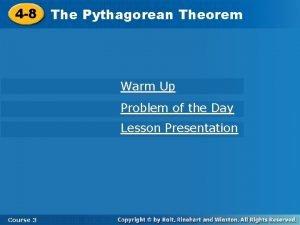 4 8 Pythagorean Theorem 4 8 The Pythagorean