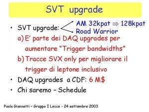 SVT upgrade AM 32 kpat 128 kpat SVT