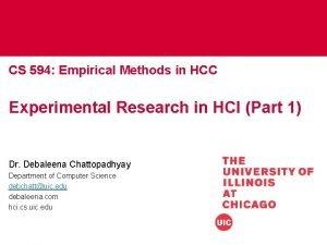 CS 594 Empirical Methods in HCC Experimental Research