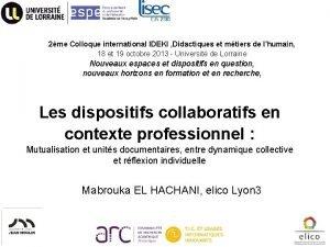 2me Colloque international IDEKI Didactiques et mtiers de
