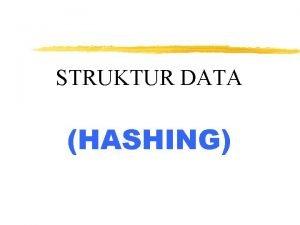 STRUKTUR DATA HASHING Metode Hashing Untuk mengatasi kerugian