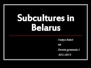 Subcultures in Belarus Nastya Babei 9 B Slonim