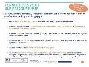 FORMULER SES VUX SUR PARCOURSUP FR Saisie d