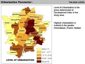Urbanization Parameter TALUKA LEVEL Level of Urbanization is