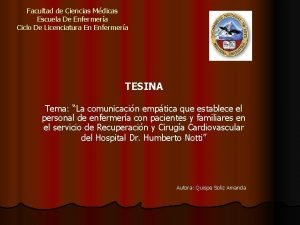 Facultad de Ciencias Mdicas Escuela De Enfermera Ciclo