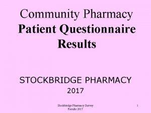 Community Pharmacy Patient Questionnaire Results STOCKBRIDGE PHARMACY 2017