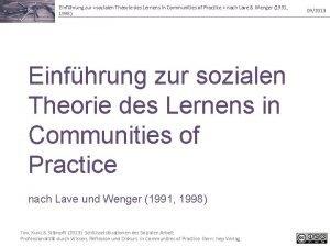Einfhrung zur sozialen Theorie des Lernens in Communities