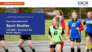 Cambridge Nationals Level Topic Exploration Pack Sport Studies