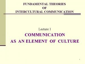 FUNDAMENTAL THEORIES OF INTERCULTURAL COMMUNICATION Lecture 1 COMMUNICATION